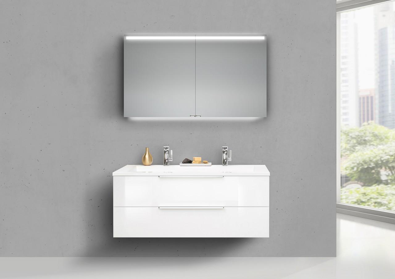 Design Badmöbel Cubo 120 Cm Doppelwaschtisch Weiß Hochglanz, Mit  Unterschrank Led Spiegelschrank
