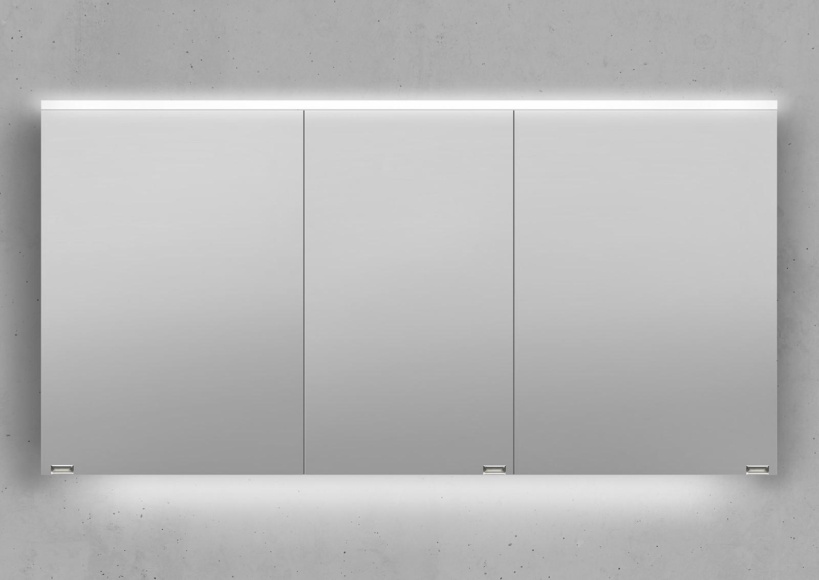 spiegelschrank 140 cm integrierte led beleuchtung doppelt verspiegelt. Black Bedroom Furniture Sets. Home Design Ideas