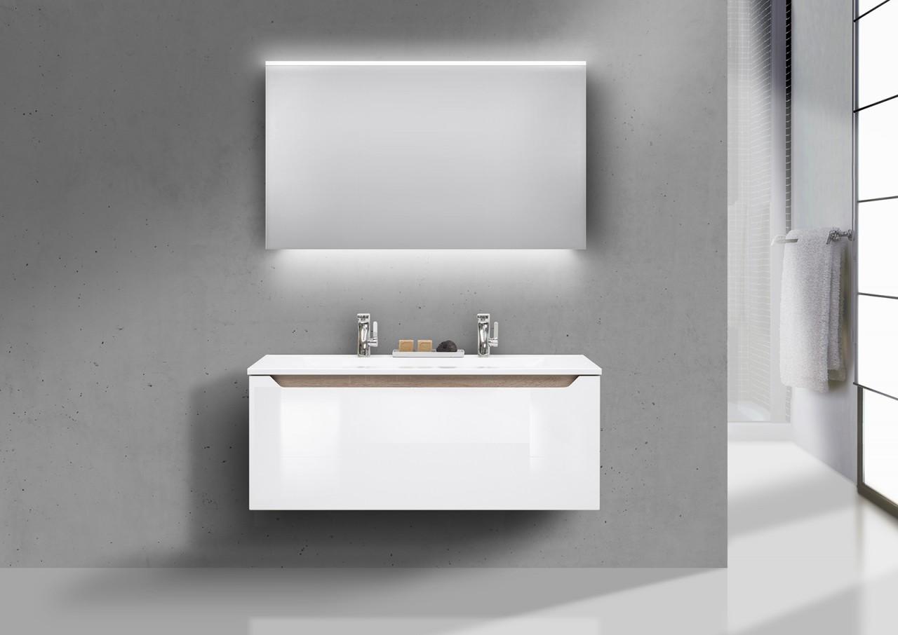 badm bel set grifflos doppelwaschbecken 120 cm waschtisch set monza nussbaum ebay. Black Bedroom Furniture Sets. Home Design Ideas