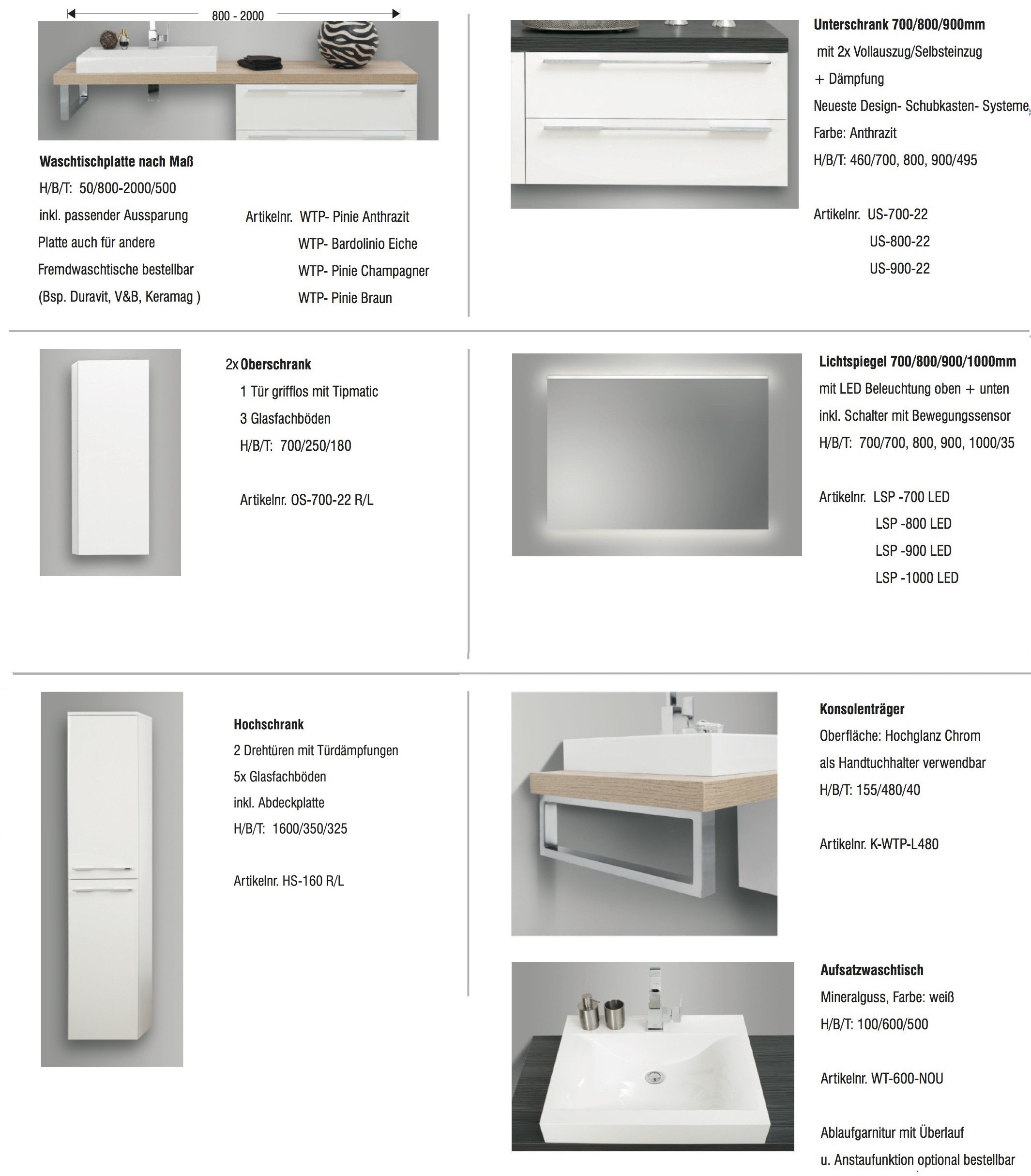 Badezimmermöbel Set Mit Design Waschbecken, Lichtspiegel