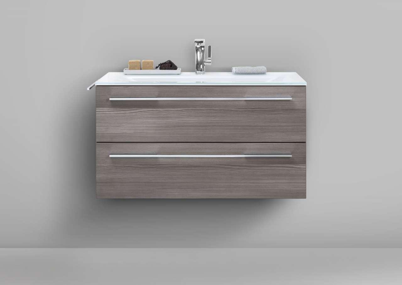 glaswaschbecken 90 cm mit unterschrank waschtisch set kaschmir hochglanz lack ebay. Black Bedroom Furniture Sets. Home Design Ideas
