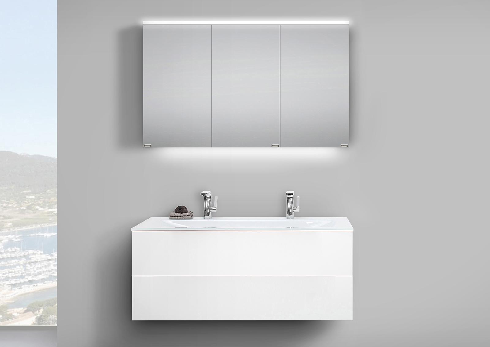badm bel set grifflos 120 cm glas doppelwaschtisch mit unterschrank und led spiegelschrank. Black Bedroom Furniture Sets. Home Design Ideas