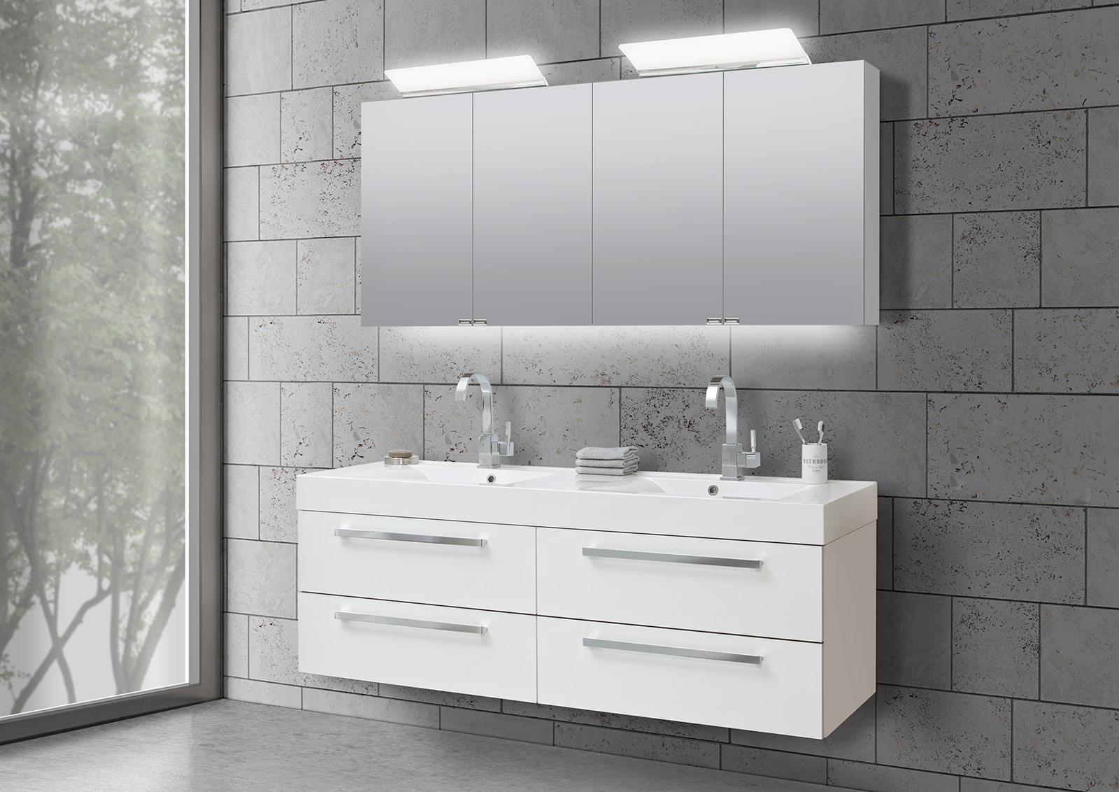160cm bad doppelwaschtische for Spiegelschrank doppelwaschbecken