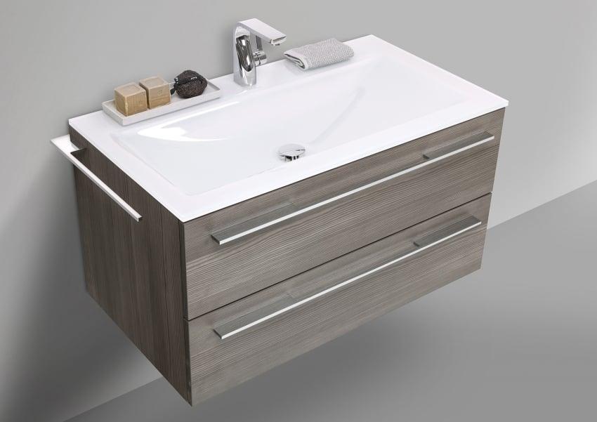 Glaswaschbecken 90 cm mit Unterschrank, Waschtisch Set | Bad > Waschbecken | Pinie - Grau - Chrom | Pinie - Abs - Stahl | Intarbad