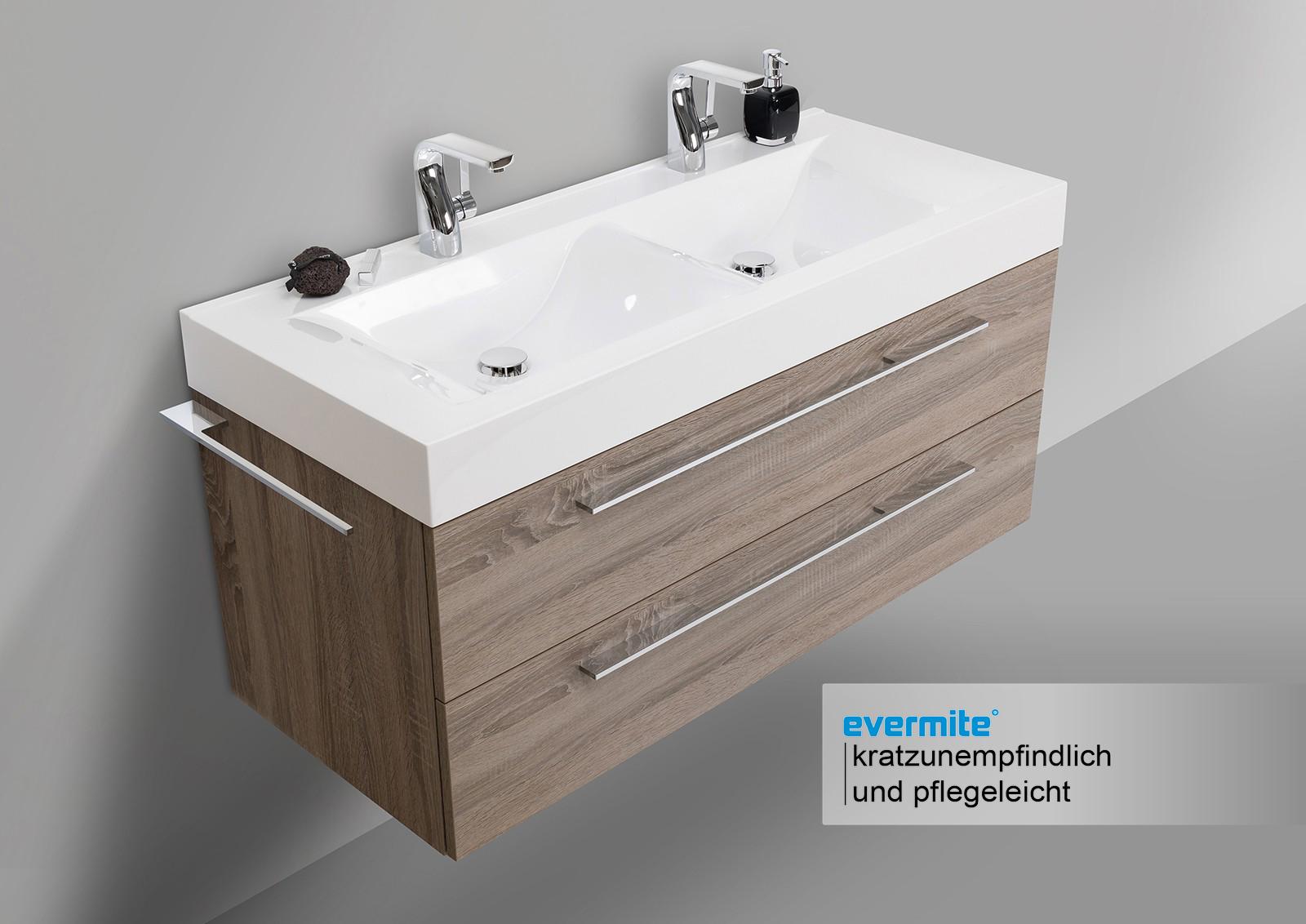 doppelwaschbecken design bad set unterschrank und led