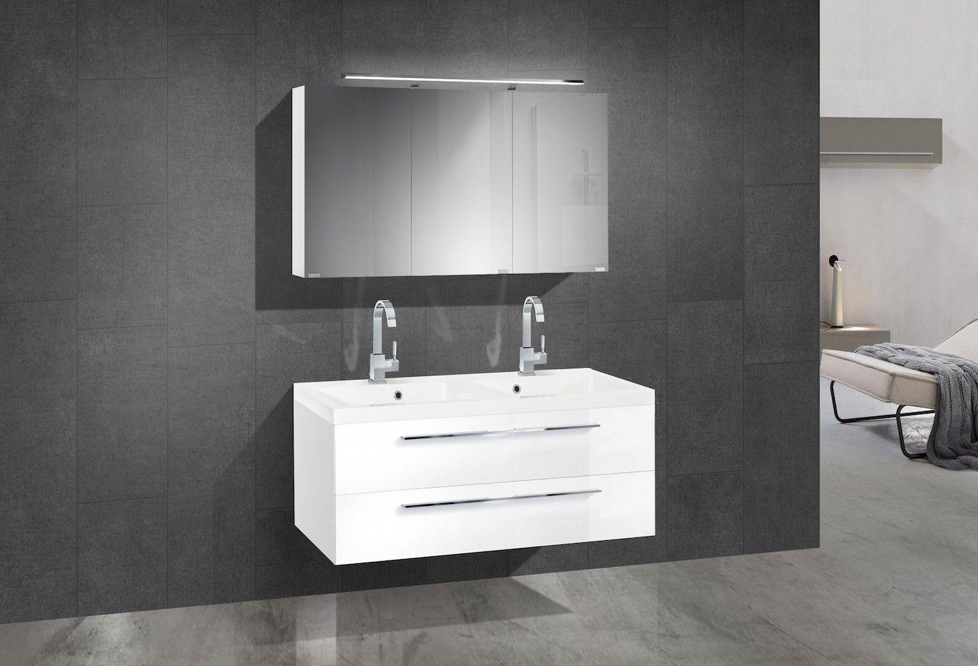 Badmöbel Set mit Doppelwaschtisch 120 cm und Spiegelschrank ... | {Badmöbel doppelwaschtisch günstig 79}