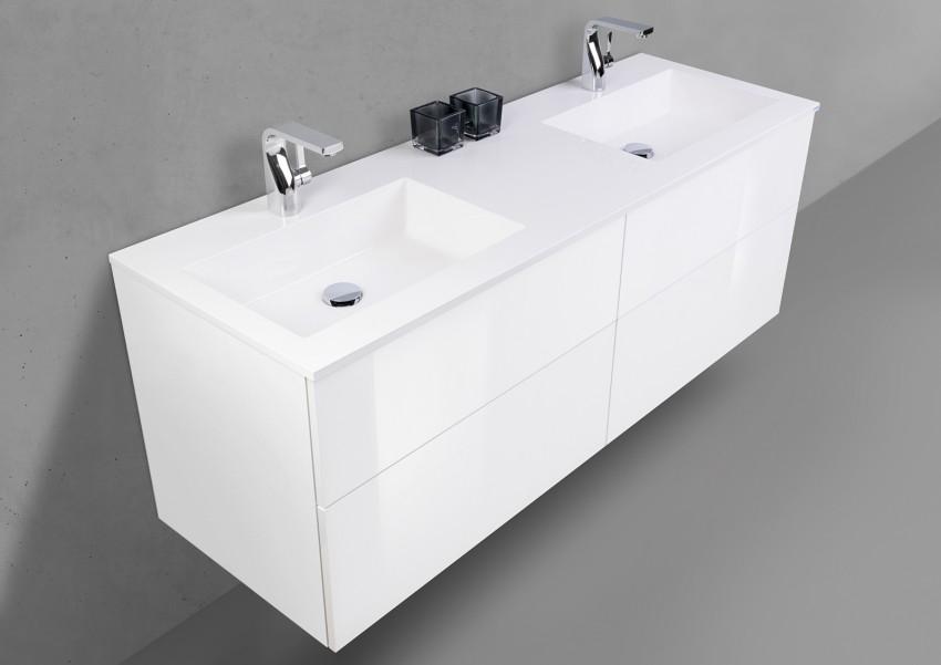 Badmöbel Set grifflos, Doppelwaschbecken 150 cm mit Unterschrank, INTARBAD SKY | Bad > Waschbecken | Intarbad