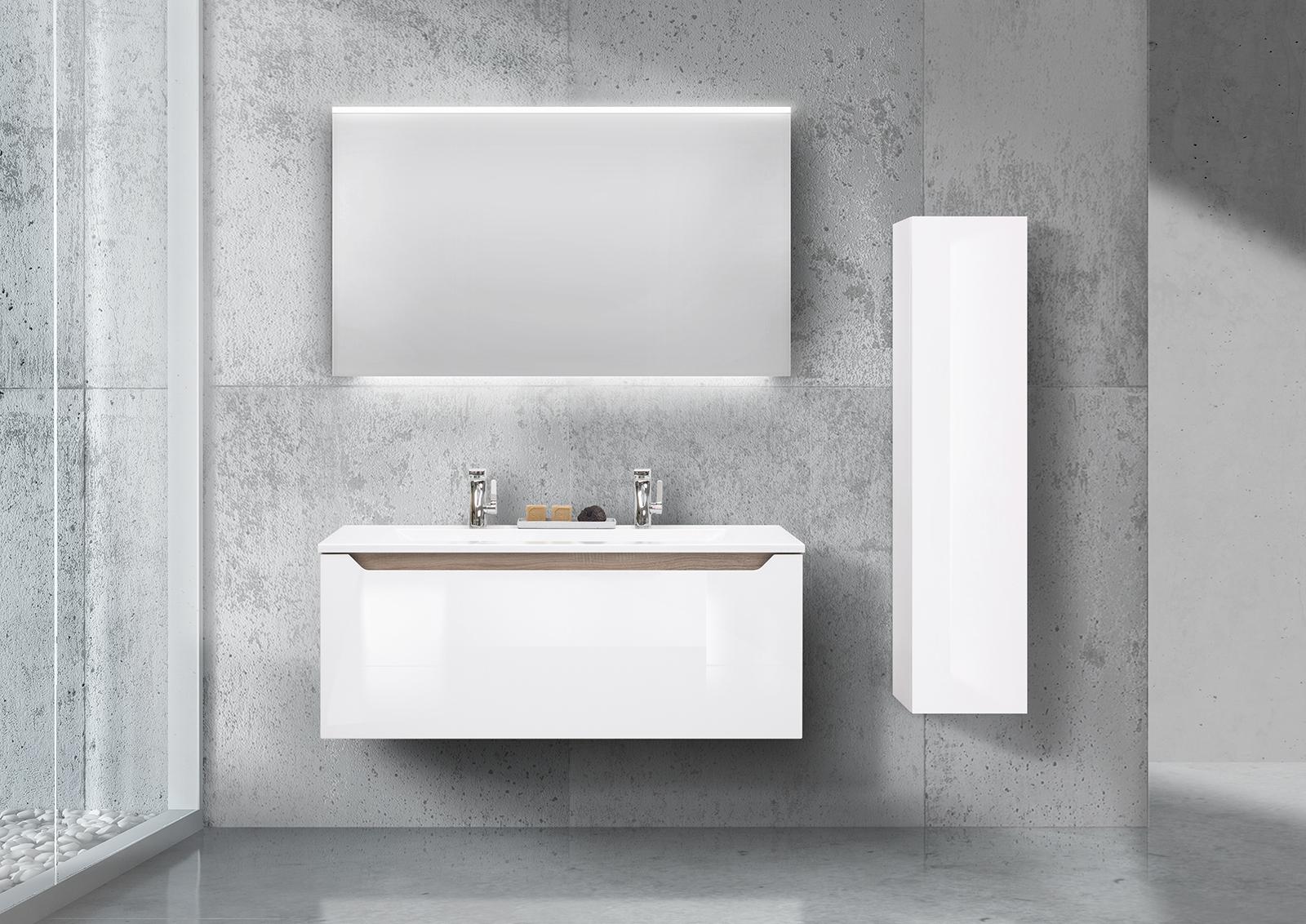 doppelwaschtisch 120cm grifflos mit led spiegel und hochschrank. Black Bedroom Furniture Sets. Home Design Ideas