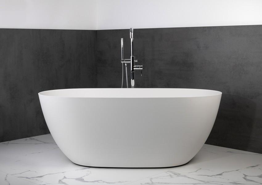 Freistehende Badewanne aus Mineralguss 160x74x60 cm in Weiß Glanz oder Matt