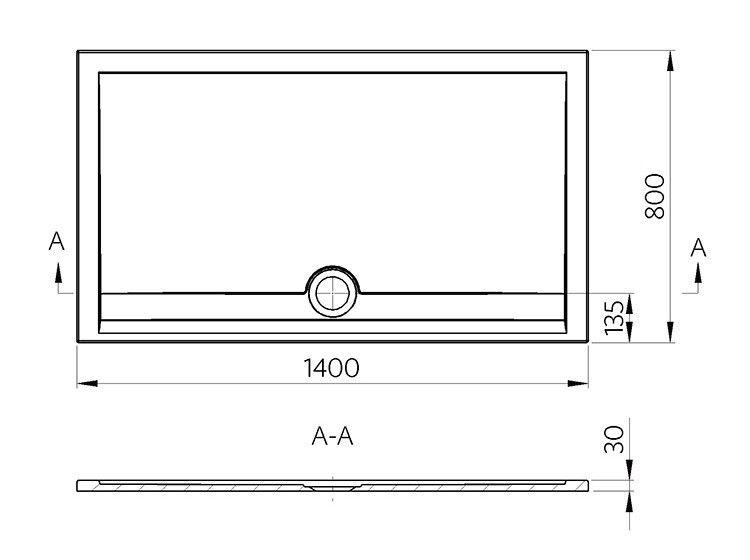 duschwanne 140 x 80 x 3 cm messina mineralguss duschtasse flach bodengleich inkl ebay. Black Bedroom Furniture Sets. Home Design Ideas