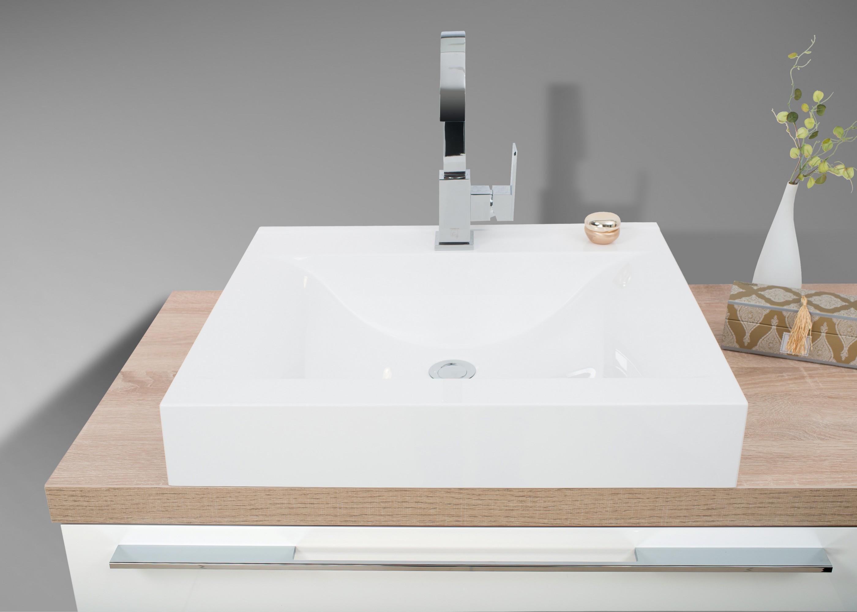 badezimmer set mit led lichtspiegel unterschrank und waschtischplatte nach ma in eiche. Black Bedroom Furniture Sets. Home Design Ideas