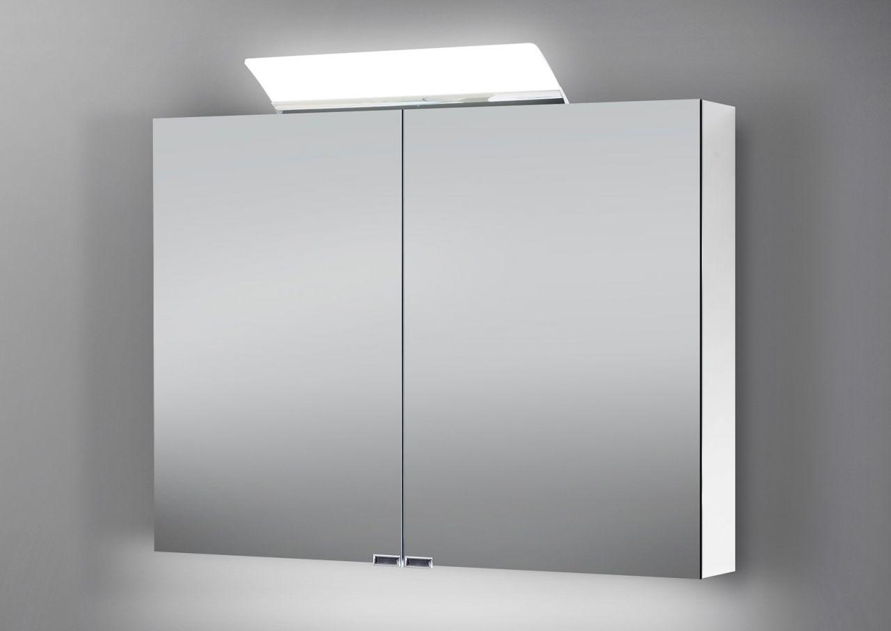 Spiegelschrank bad 100 cm led beleuchtung doppelseitig verspiegelt wei hochgl ebay - Spiegelschrank bad 100 cm ...
