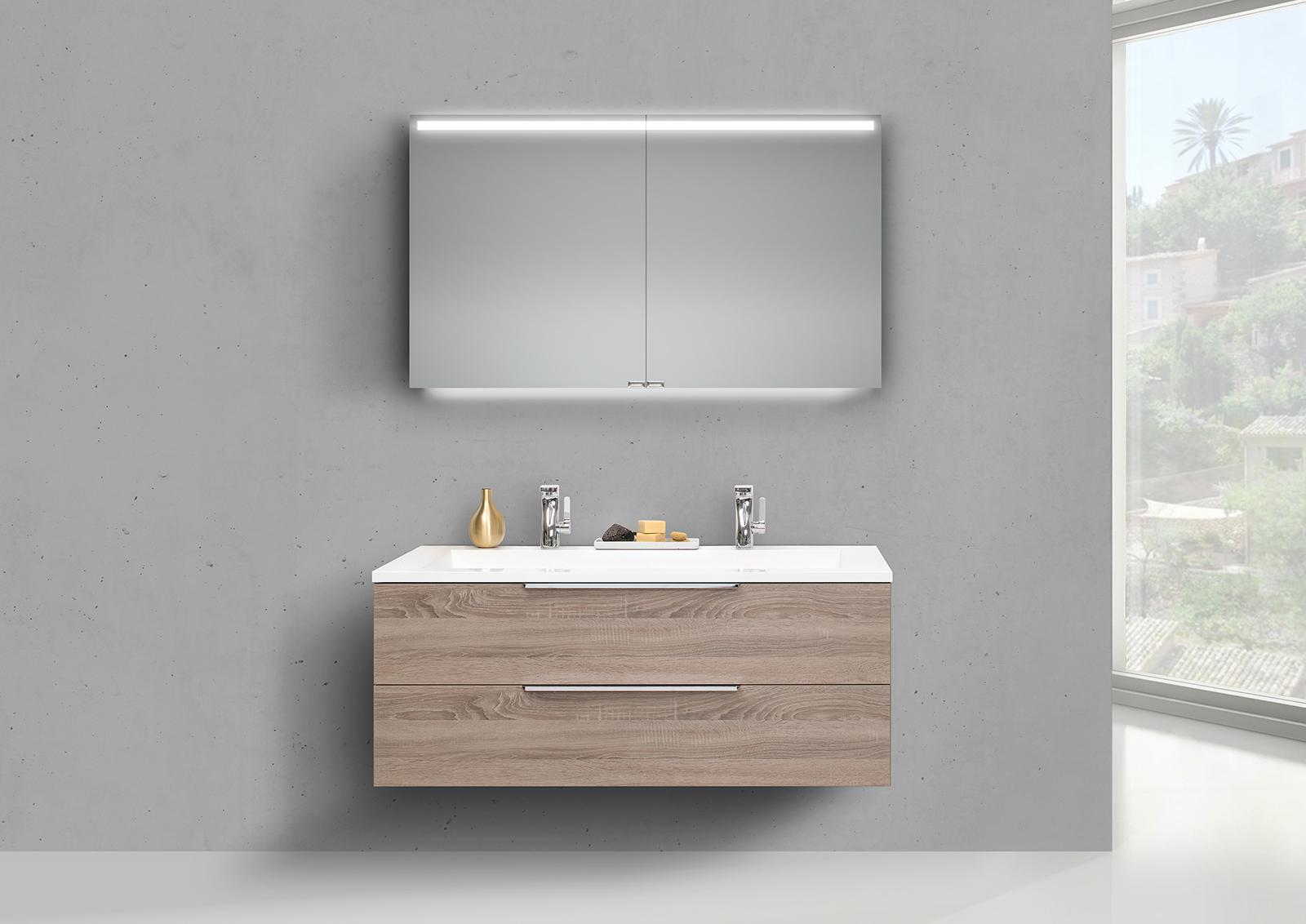 intarbad cubo 1200 doppelwaschbecken mit unterschrank und led spiegelschrank. Black Bedroom Furniture Sets. Home Design Ideas