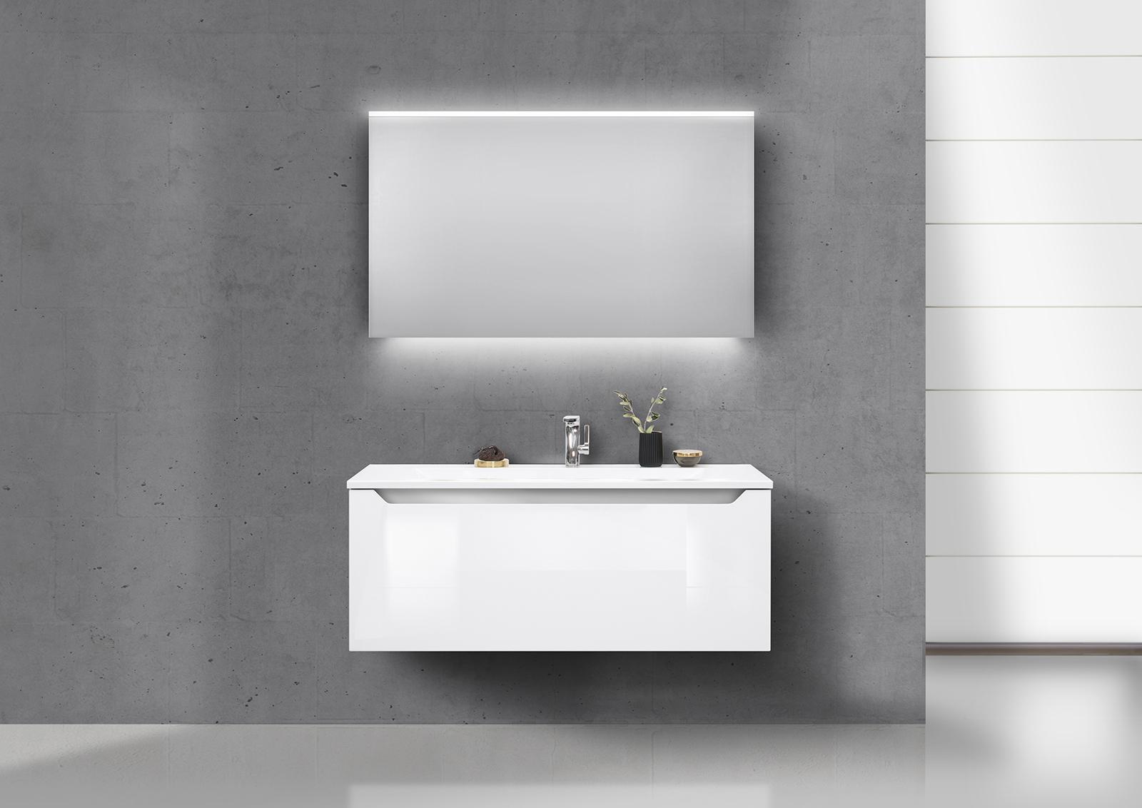 Badm bel set grifflos 120 cm waschbecken unterschrank mit for Badmobel unterschrank mit waschbecken