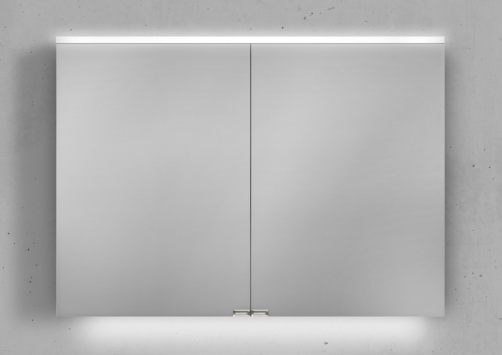 spiegelschrank 100 cm integrierte led beleuchtung doppelt verspiegelt. Black Bedroom Furniture Sets. Home Design Ideas