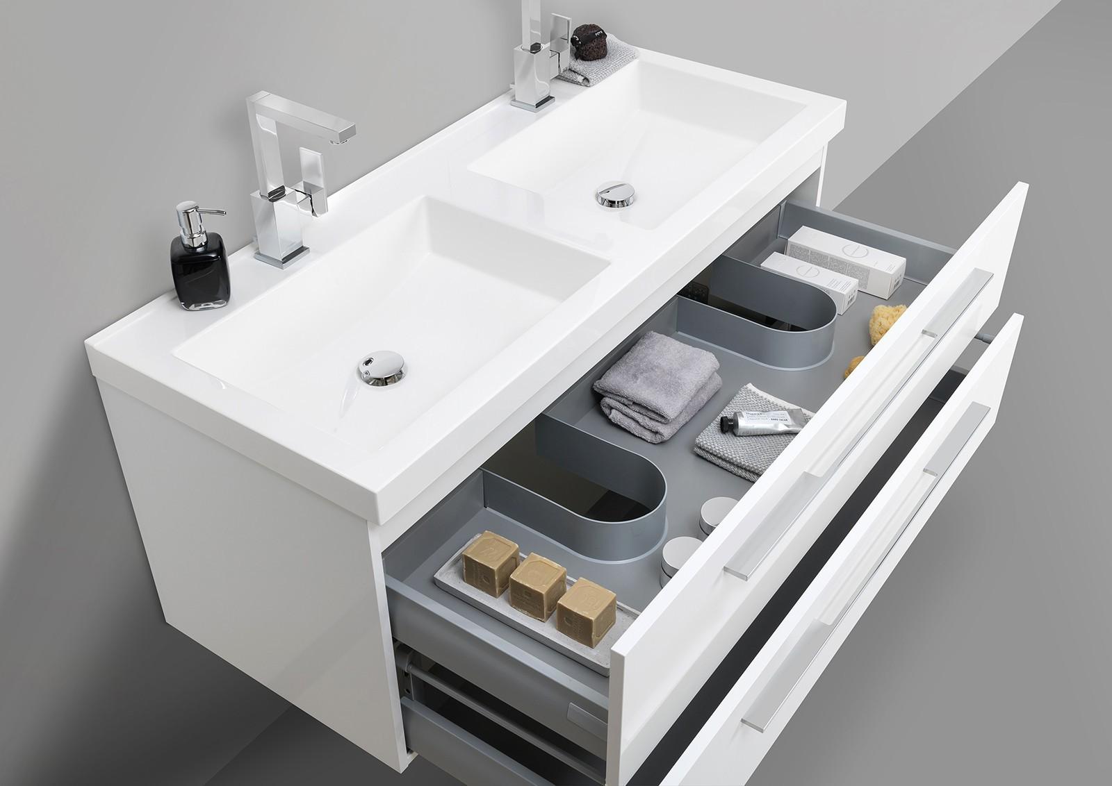 Doppelwaschtisch 120cm und led lichtspiegel badezimmer set for Doppelwaschtisch set