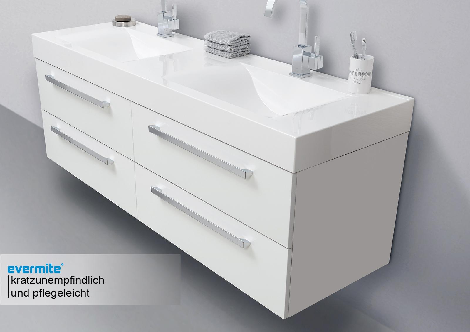 doppelwaschtisch 160 cm badm bel mit unterschrank spiegelschrank. Black Bedroom Furniture Sets. Home Design Ideas