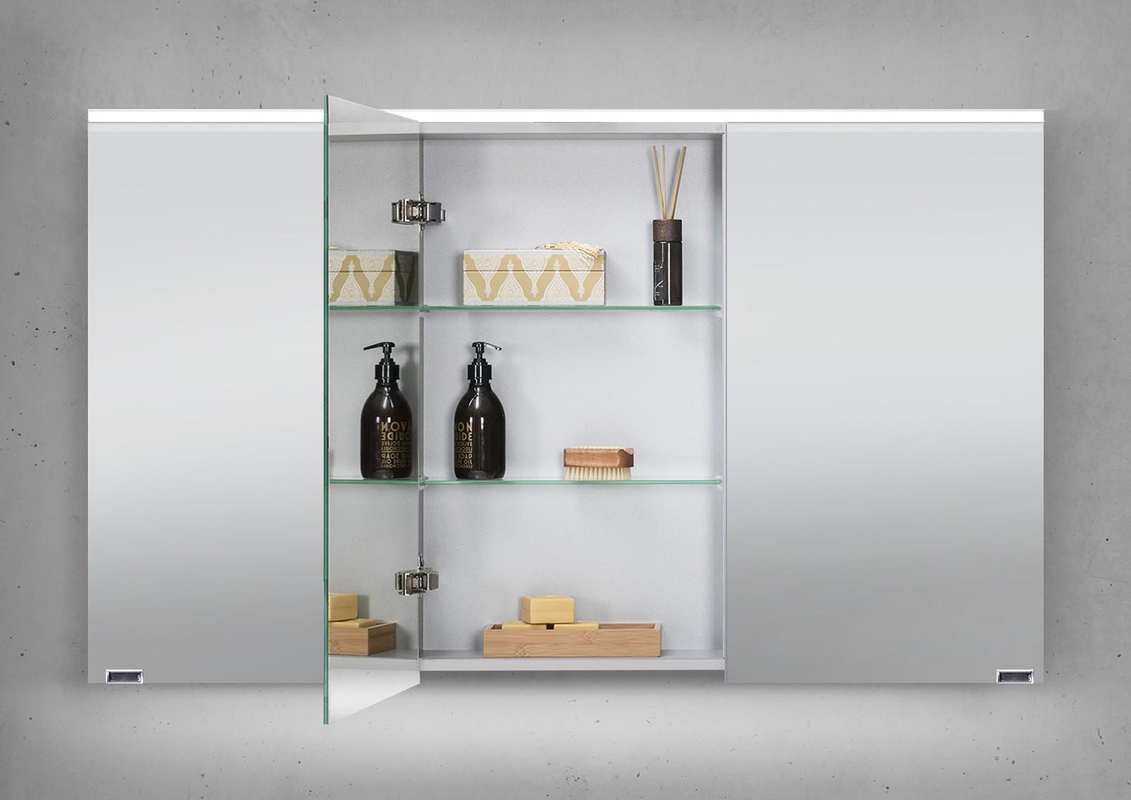 spiegelschrank 120 cm integrierte led beleuchtung doppeltverspiegelt. Black Bedroom Furniture Sets. Home Design Ideas
