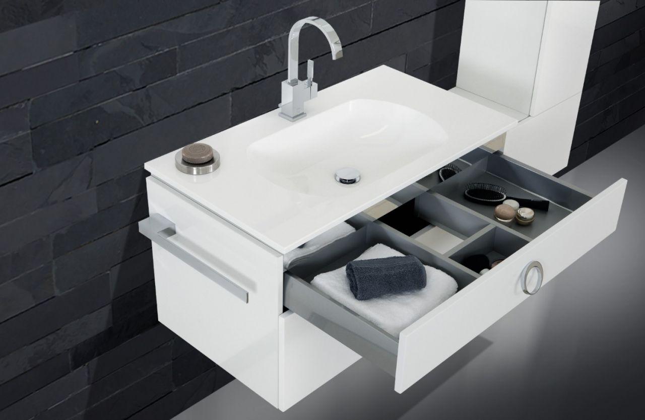 design badm bel set lichtspiegel waschbecken 90 wei hochglanz lack wei hochg ebay. Black Bedroom Furniture Sets. Home Design Ideas