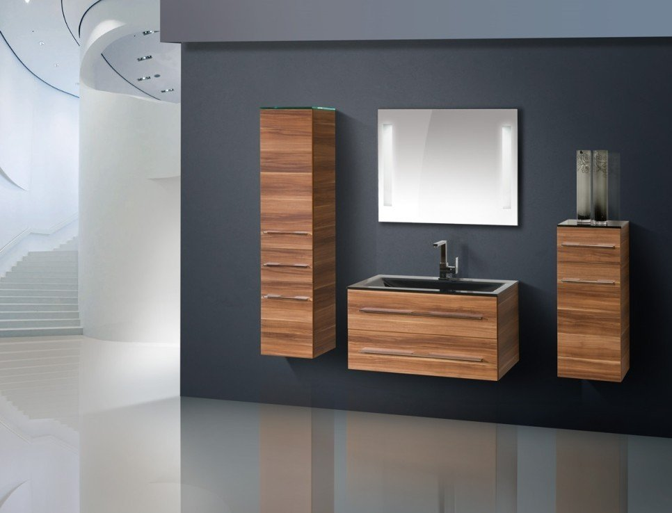 Design badm bel set glaswaschtisch 90 cm - Designer badmobel ...
