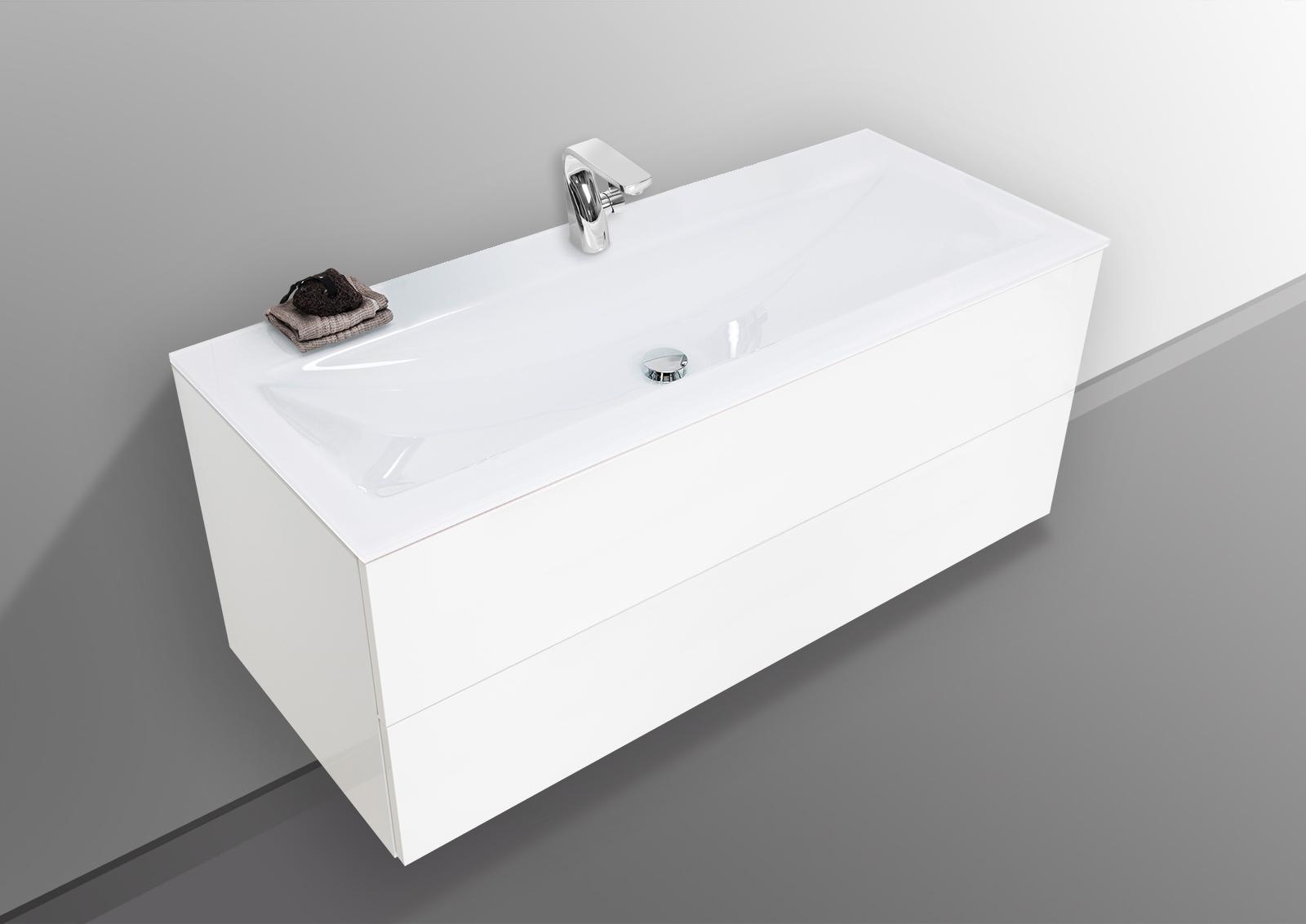 badm bel grifflos 120 cm glaswaschtisch optiwhite mit. Black Bedroom Furniture Sets. Home Design Ideas