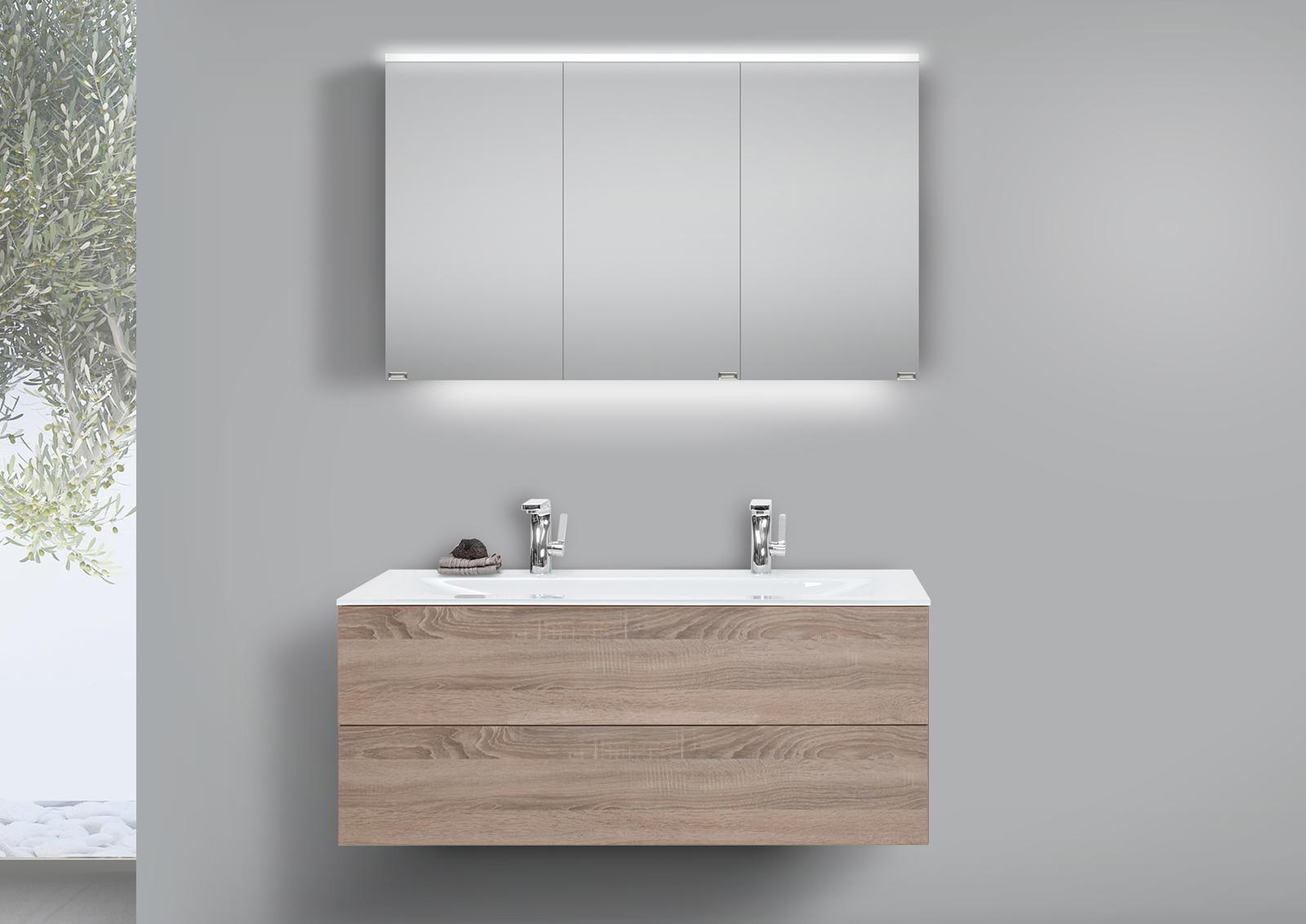 glas doppelwaschtisch 120 cm badm bel grifflos mit unterschrank und led spiegelschrank. Black Bedroom Furniture Sets. Home Design Ideas