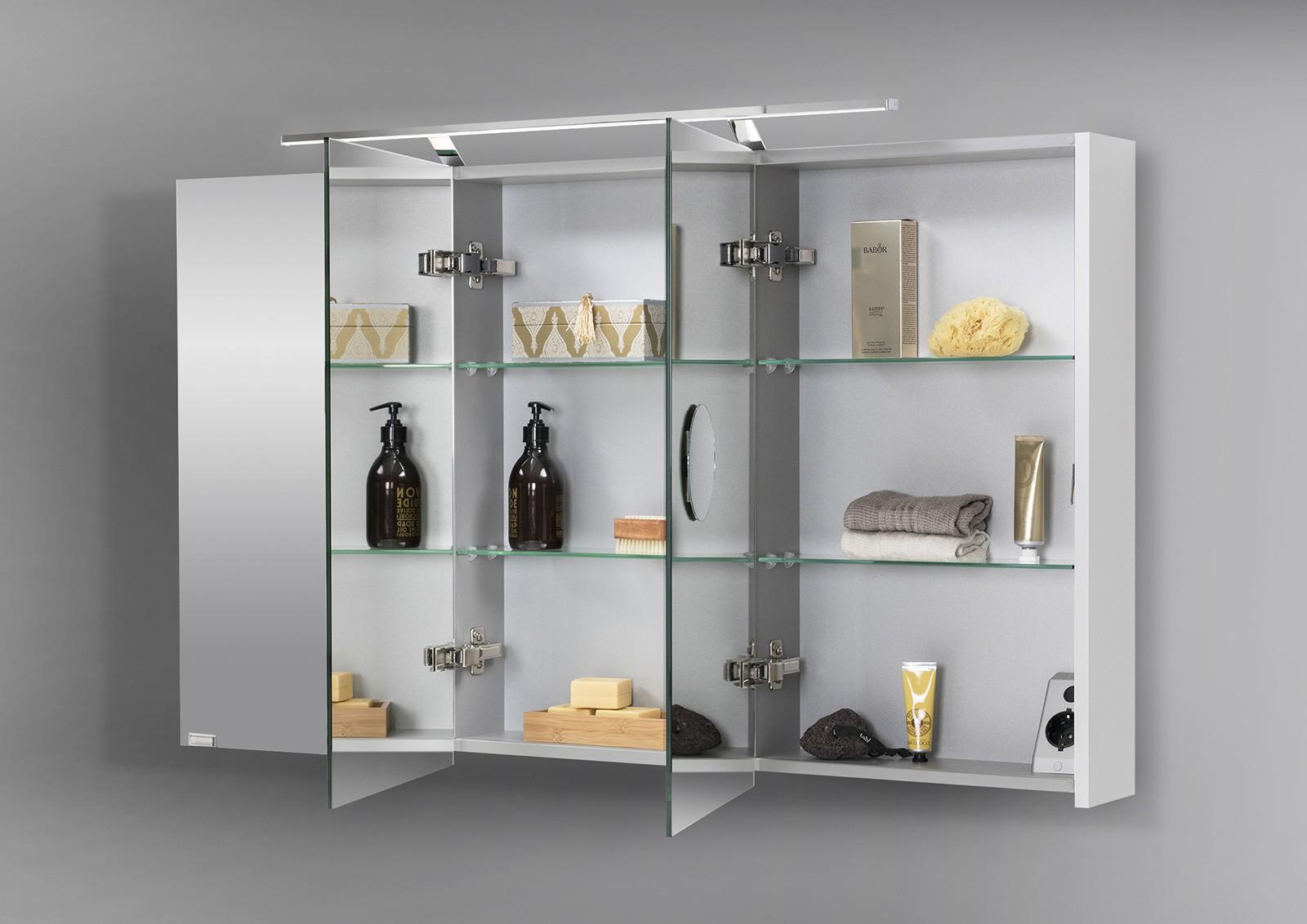 spiegelschrank bad 120 cm led beleuchtung doppelseitig verspiegelt 5206. Black Bedroom Furniture Sets. Home Design Ideas