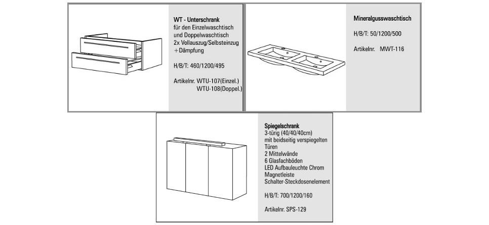 Badmöbel Set mit Doppelwaschtisch 120 cm und Spiegelschrank ...   {Doppelwaschtisch maße 63}