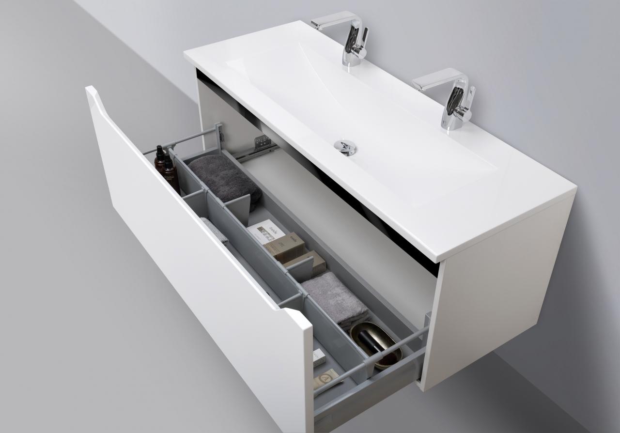 Design hochglanz badm bel set 120 cm doppelwaschtisch for Designer doppelwaschtisch