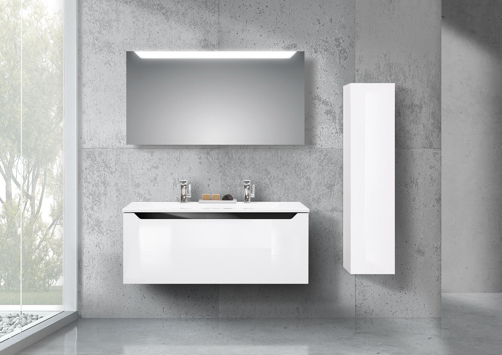 badm bel set monza grifflos doppelwaschtisch 120cm seitenschrank mit led spiegel. Black Bedroom Furniture Sets. Home Design Ideas