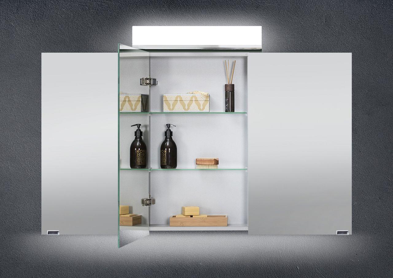 spiegelschrank bad 120 cm led beleuchtung doppelseitig verspiegelt wei hochgl ebay. Black Bedroom Furniture Sets. Home Design Ideas