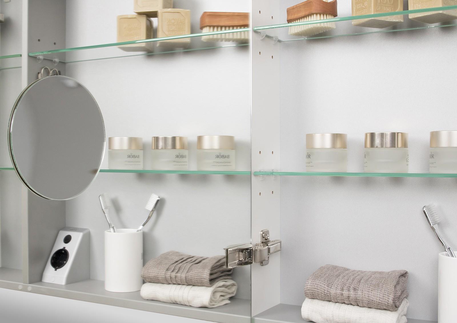 spiegelschrank 130 cm led beleuchtung mit farbwechsel doppelseitig verspiegelt. Black Bedroom Furniture Sets. Home Design Ideas