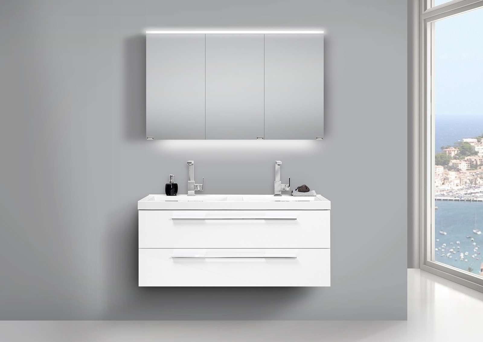Design Badmöbel Set Weiss 120cm mit Doppelwaschtisch und LED ...