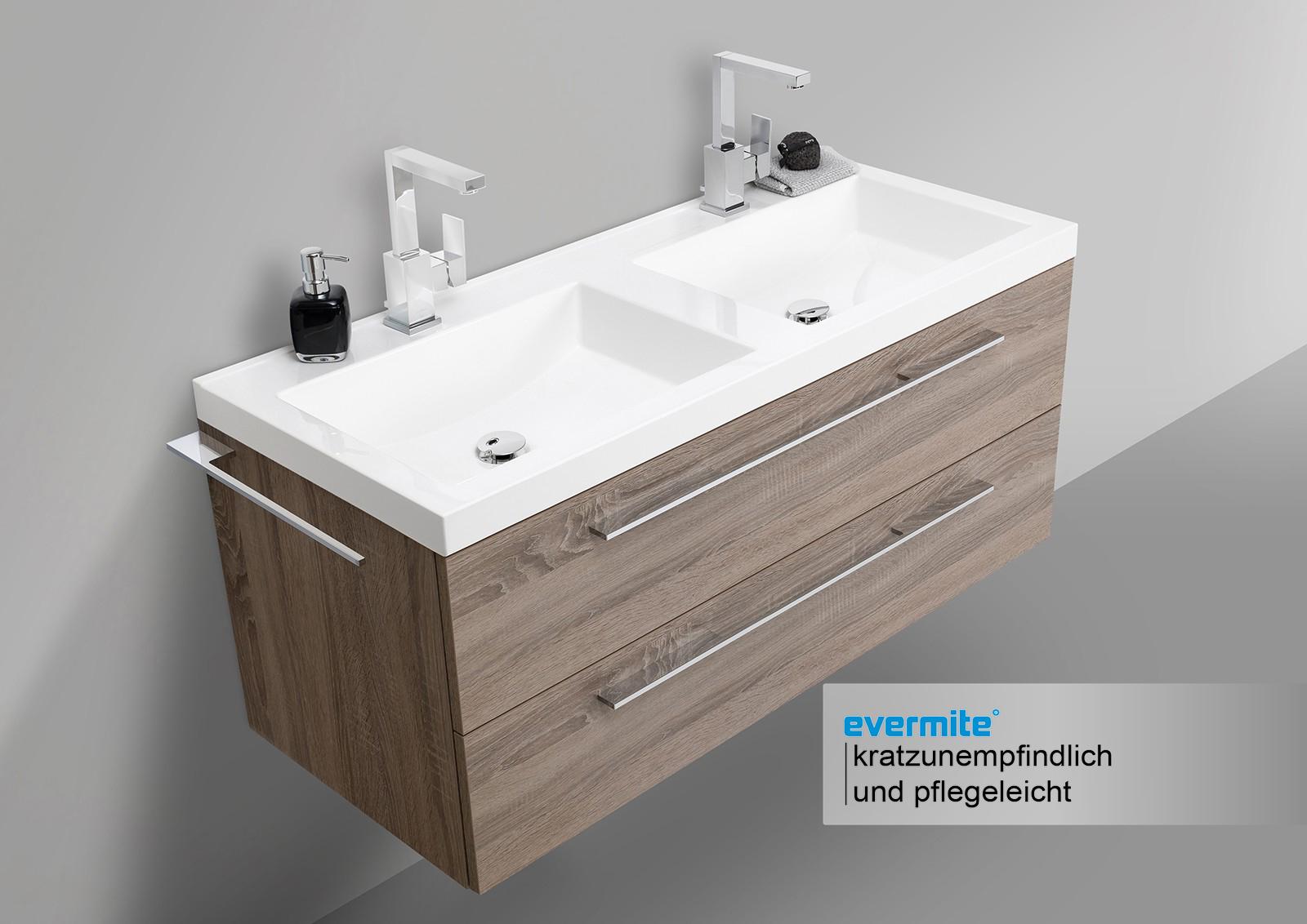 doppelwaschtisch 120 cm mit unterschrank evermite. Black Bedroom Furniture Sets. Home Design Ideas