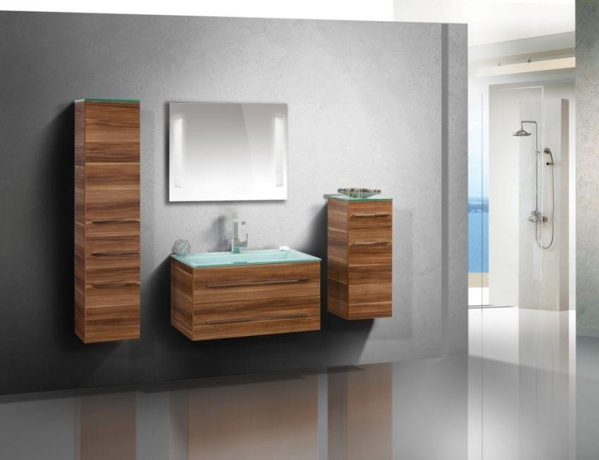Design Badmöbel Set Glaswaschbecken 90cm   Bad > Waschbecken   Chrom   Nussbaum - Abs - Stahl   Intarbad