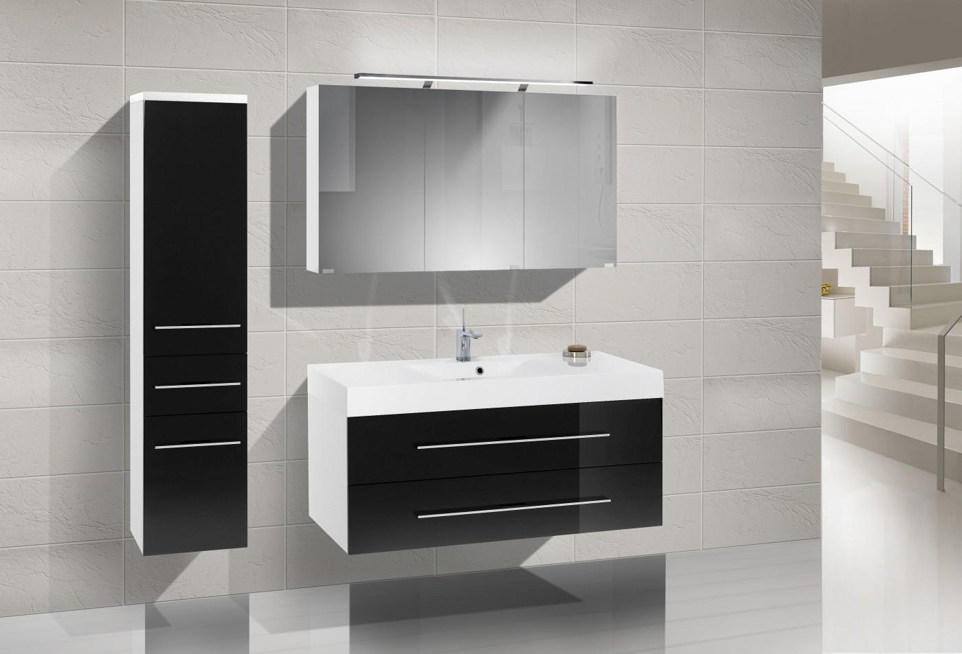 design badm bel set spiegelschrank 120 cm. Black Bedroom Furniture Sets. Home Design Ideas
