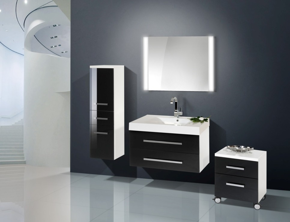 design badm bel set lichtspiegel hochglanz lack 90 cm. Black Bedroom Furniture Sets. Home Design Ideas