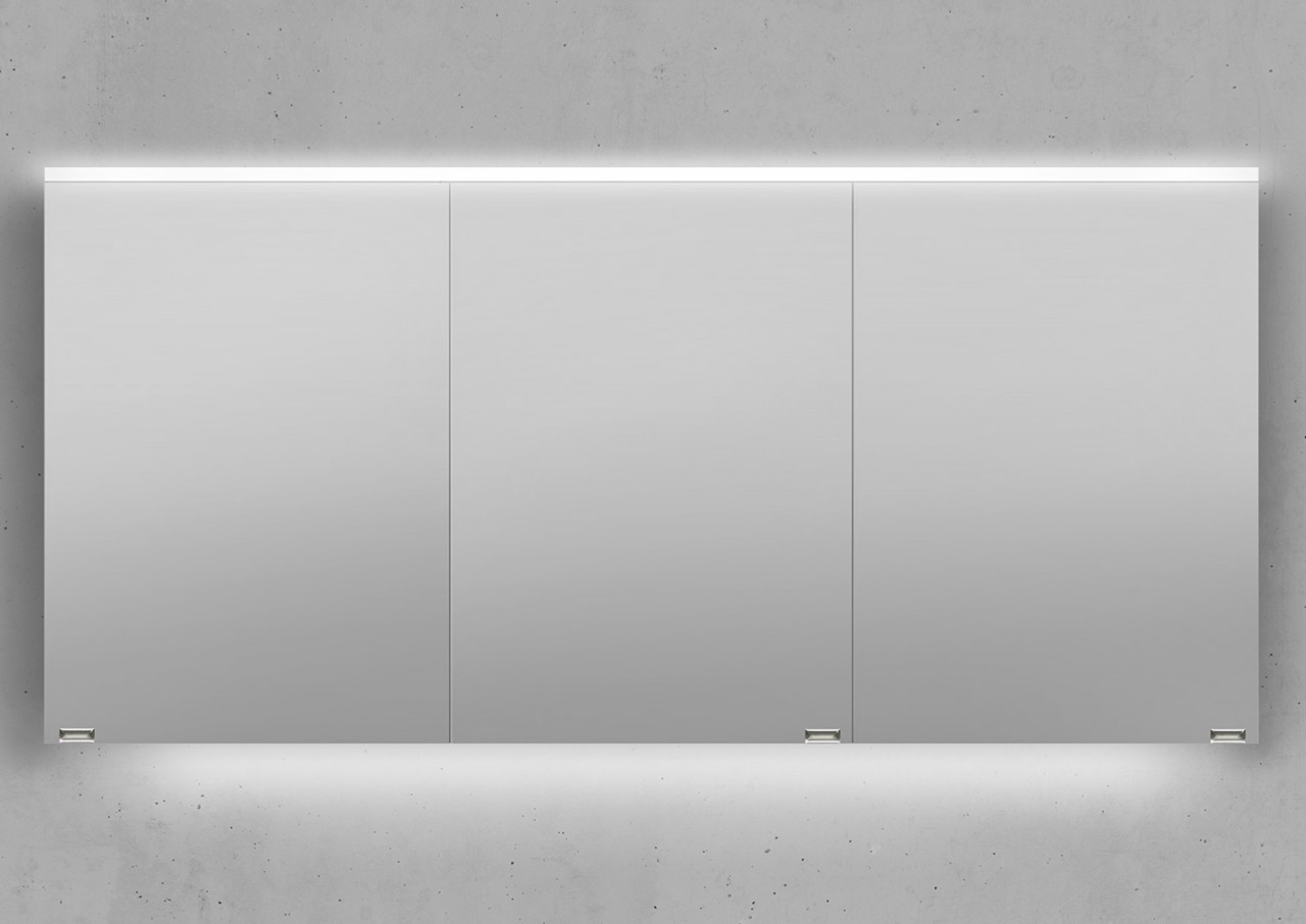 spiegelschrank 150 cm integrierte led beleuchtung doppelt verspiegelt wei hoc ebay. Black Bedroom Furniture Sets. Home Design Ideas