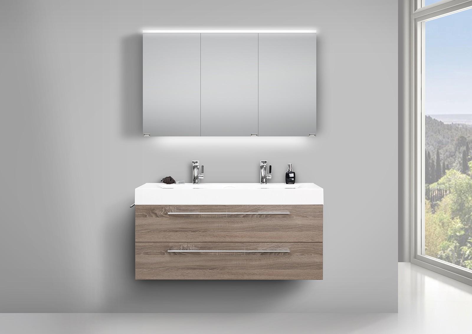doppelwaschtisch unterschrank 120cm und led spiegelschrank doppelt verspiegelt. Black Bedroom Furniture Sets. Home Design Ideas