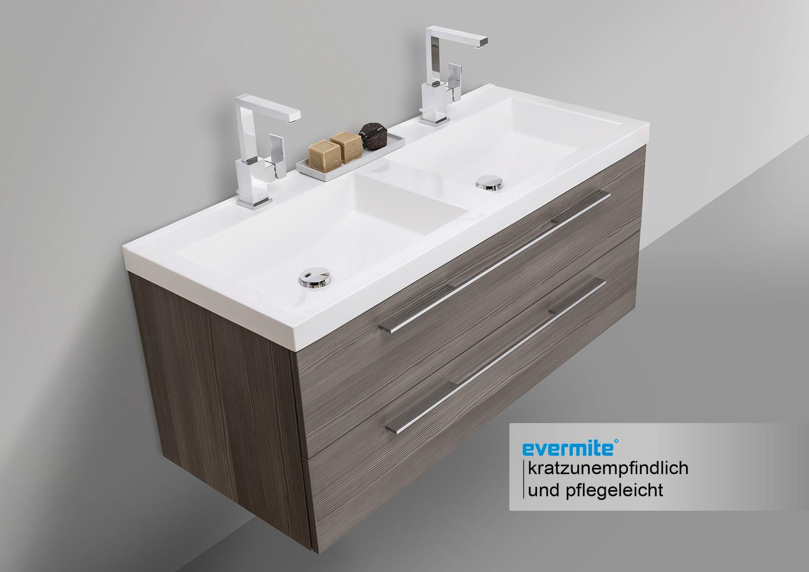 design badezimmerm bel set mit doppelwaschbecken und led