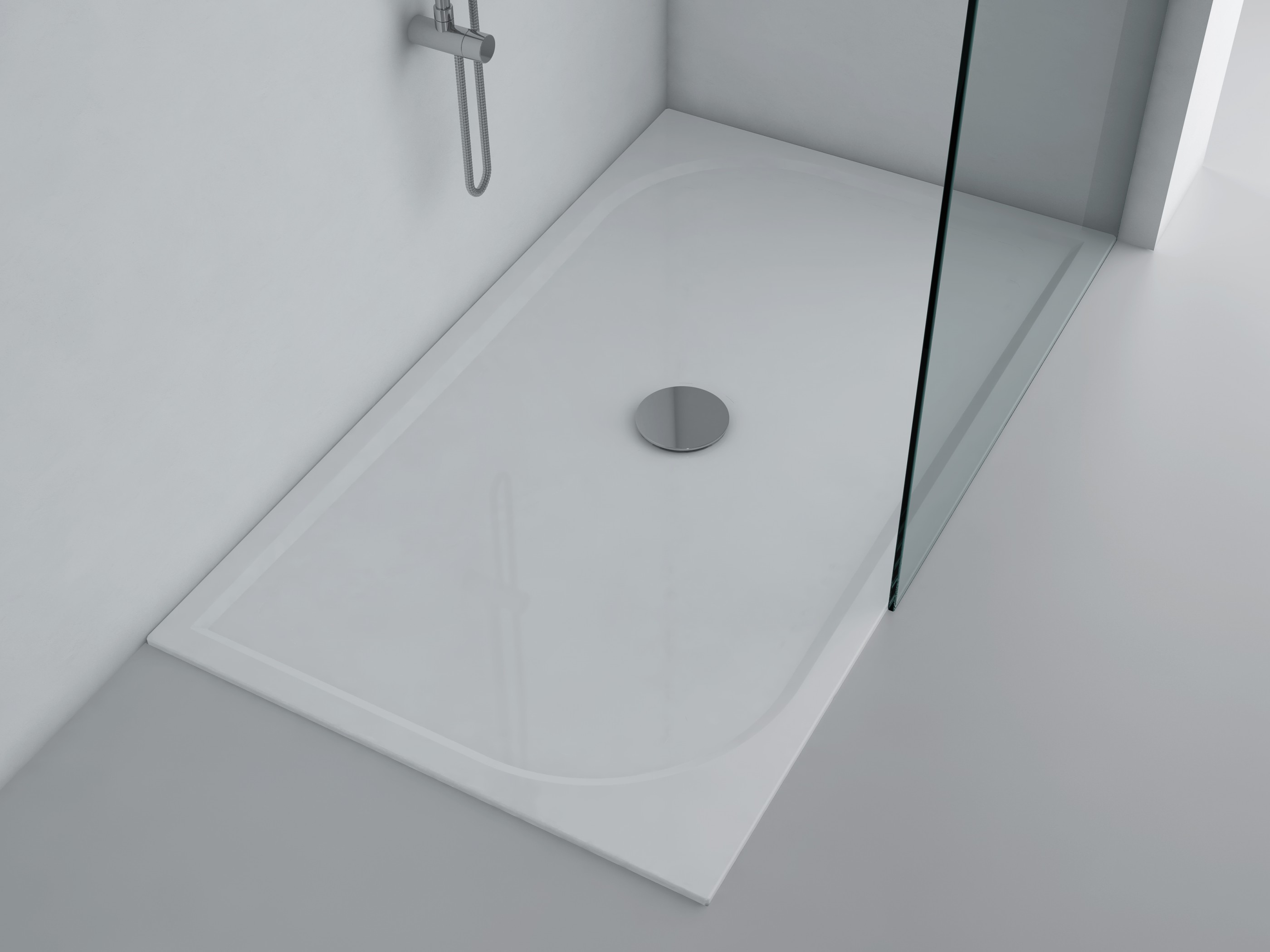 duschwanne 140x80cm andria mineralguss flach bodengleich inkl f e und ablauf 5109. Black Bedroom Furniture Sets. Home Design Ideas