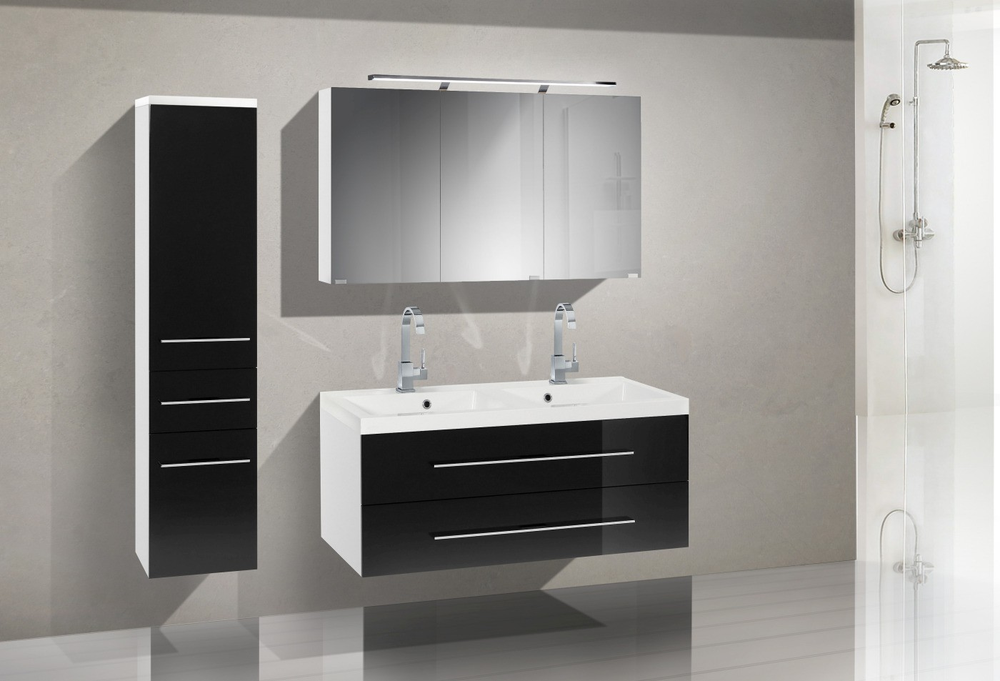 badezimmerm bel set mit waschbecken und spiegelschank 120 cm 619. Black Bedroom Furniture Sets. Home Design Ideas