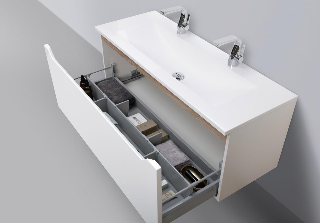 badm bel set monza grifflos 120 cm doppelwaschbecken wei hochglanz nussbaum ebay. Black Bedroom Furniture Sets. Home Design Ideas