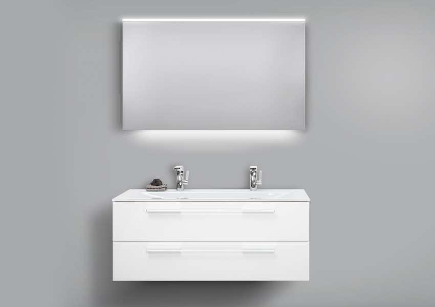 Badmöbel Set Glaswaschtisch 120 Doppelwaschbecken mit Unterschrank, Lichtspiegel