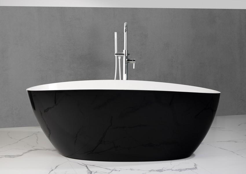 Freistehende Badewanne aus Mineralguss 170x77x62 cm in Schwarz