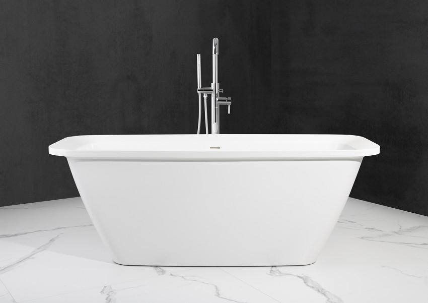Freistehende Badewanne aus Mineralguss 170x70x61,9 cm in Weiß Glanz
