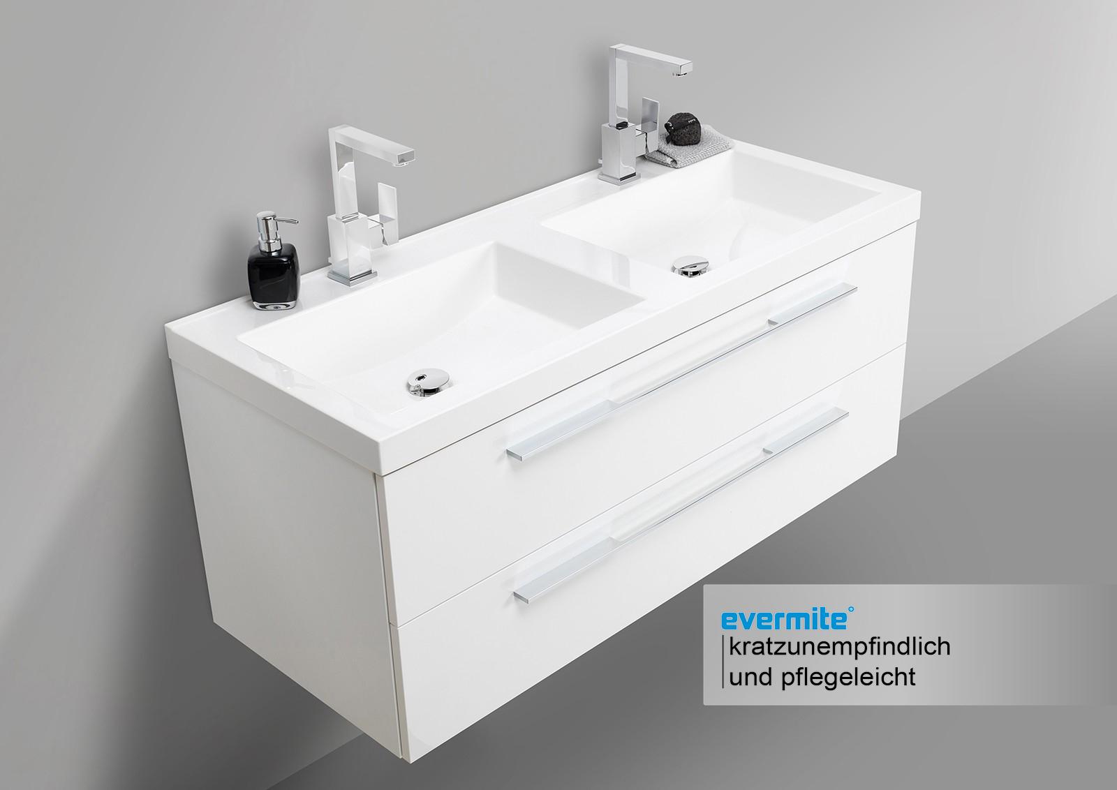 design badm bel set mit led spiegelschrank und doppelwaschtisch evermite in 120cm. Black Bedroom Furniture Sets. Home Design Ideas