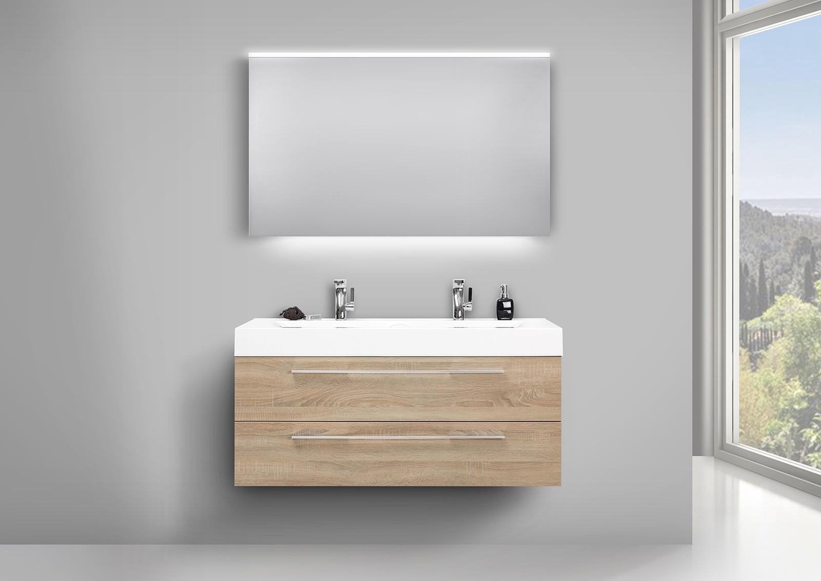 Doppelwaschbecken Mit Unterschrank badmöbel waschtisch evermite doppelwaschbecken unterschrank und led
