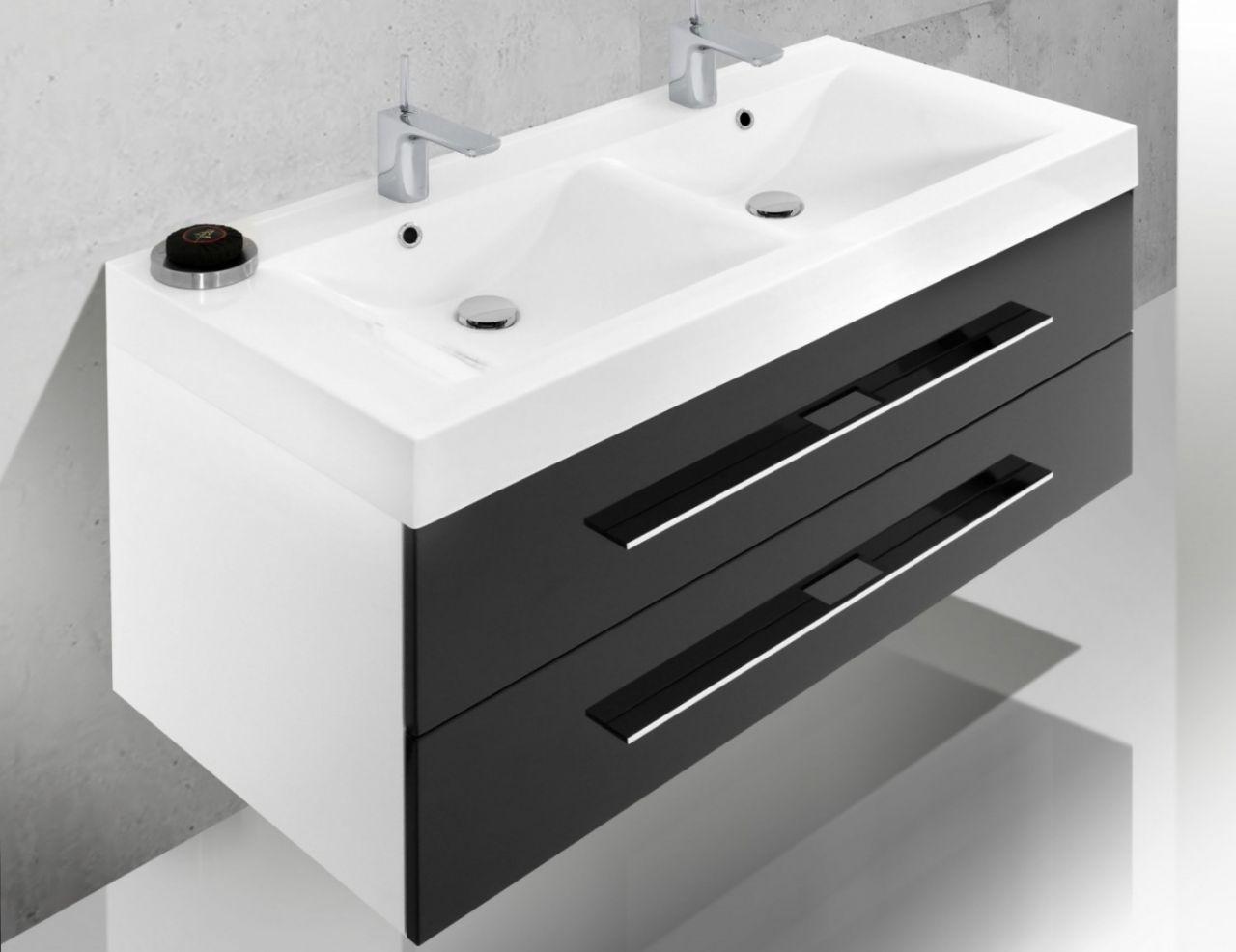 design badm bel set spiegelschrank doppelwaschtisch 120 cm. Black Bedroom Furniture Sets. Home Design Ideas