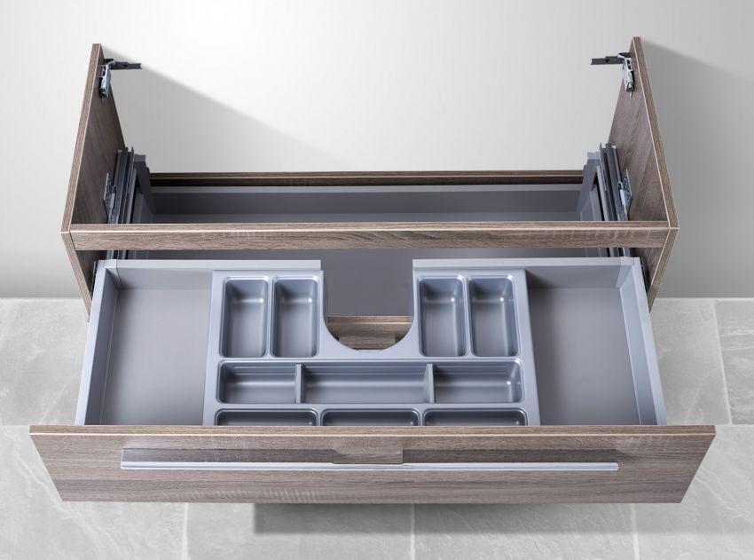 Waschtisch Unterschrank zu Duravit Vero 100 cm, mit Kosmetikeinsatz Waschbeckenunterschrank